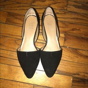 Suede and leather flats
